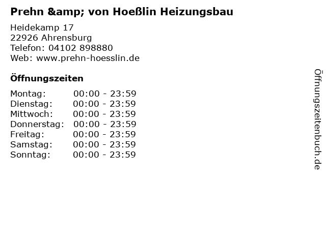 Prehn & von Hoeßlin Heizungsbau in Ahrensburg: Adresse und Öffnungszeiten