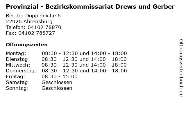 Provinzial - Bezirkskommissariat Drews und Gerber in Ahrensburg: Adresse und Öffnungszeiten