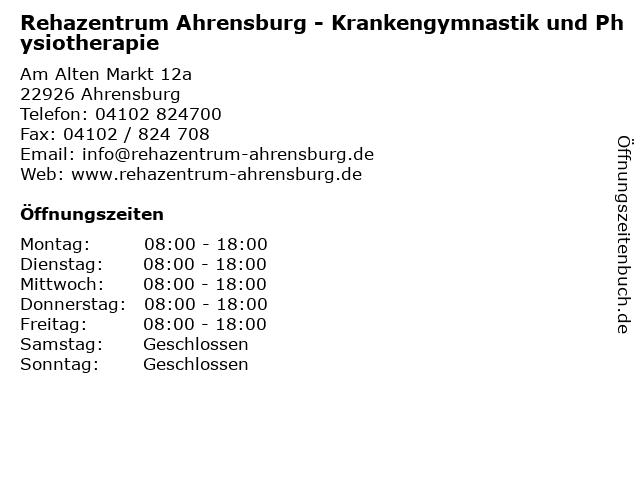 Rehazentrum Ahrensburg - Krankengymnastik und Physiotherapie in Ahrensburg: Adresse und Öffnungszeiten