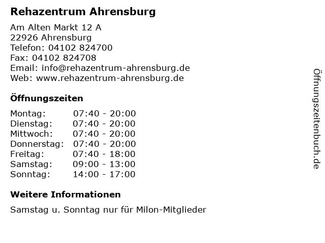 Rehazentrum Ahrensburg in Ahrensburg: Adresse und Öffnungszeiten
