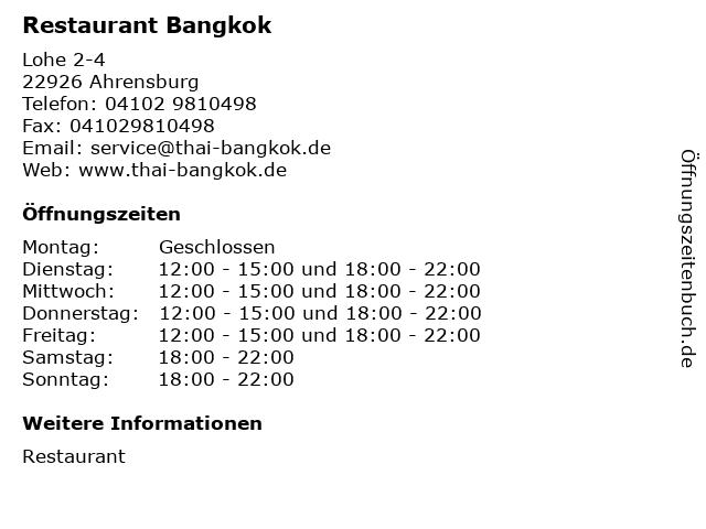 Restaurant Bangkok in Ahrensburg: Adresse und Öffnungszeiten