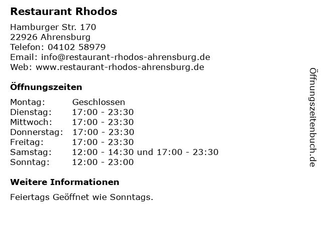 Restaurant Rhodos in Ahrensburg: Adresse und Öffnungszeiten