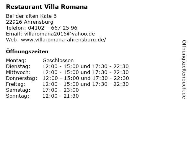 Restaurant Villa Romana in Ahrensburg: Adresse und Öffnungszeiten