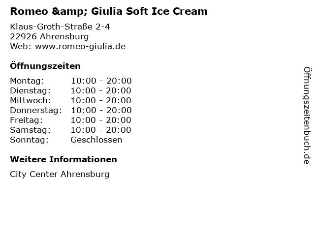 Romeo & Giulia Soft Ice Cream in Ahrensburg: Adresse und Öffnungszeiten