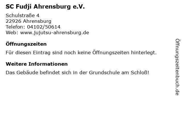 SC Fudji Ahrensburg e.V. in Ahrensburg: Adresse und Öffnungszeiten