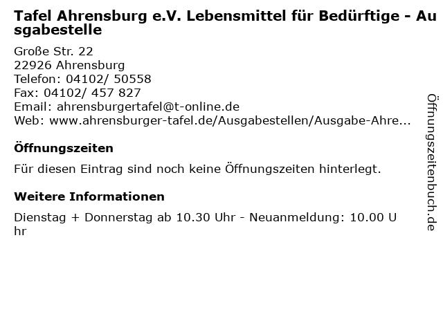 Tafel Ahrensburg e.V. Lebensmittel für Bedürftige - Ausgabestelle in Ahrensburg: Adresse und Öffnungszeiten