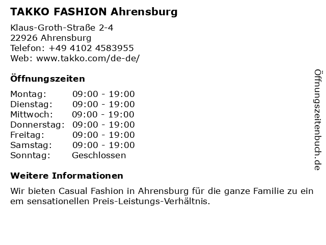 Takko Fashion in Ahrensburg: Adresse und Öffnungszeiten