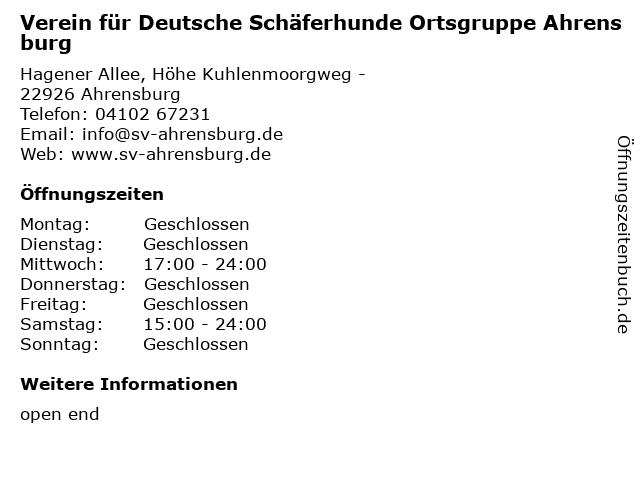 Verein für Deutsche Schäferhunde Ortsgruppe Ahrensburg in Ahrensburg: Adresse und Öffnungszeiten