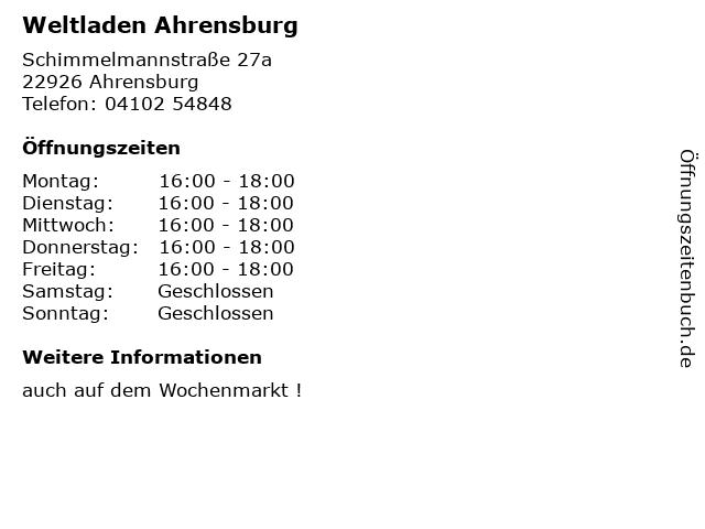 Weltladen Ahrensburg in Ahrensburg: Adresse und Öffnungszeiten