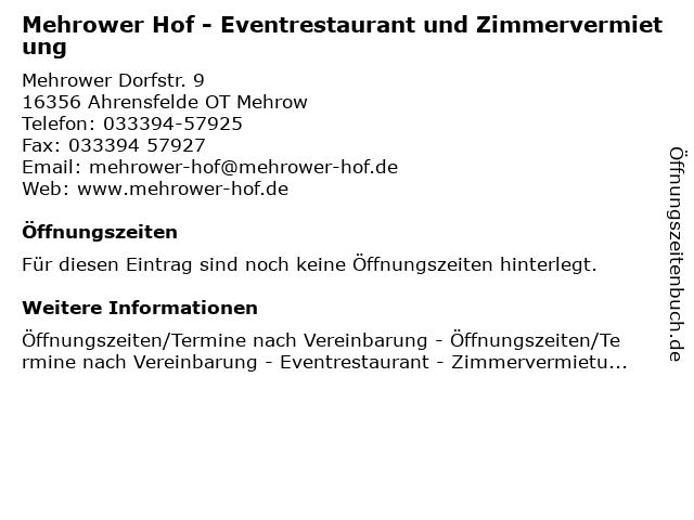 Mehrower Hof - Eventrestaurant und Zimmervermietung in Ahrensfelde OT Mehrow: Adresse und Öffnungszeiten