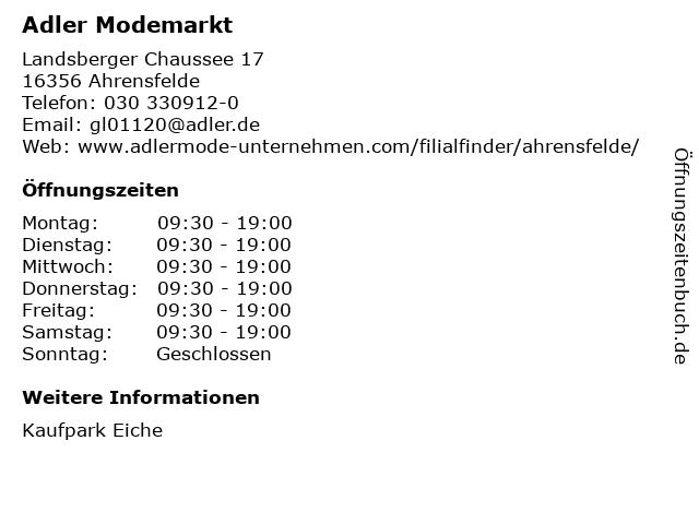 Adler Modemärkte AG in Ahrensfelde: Adresse und Öffnungszeiten