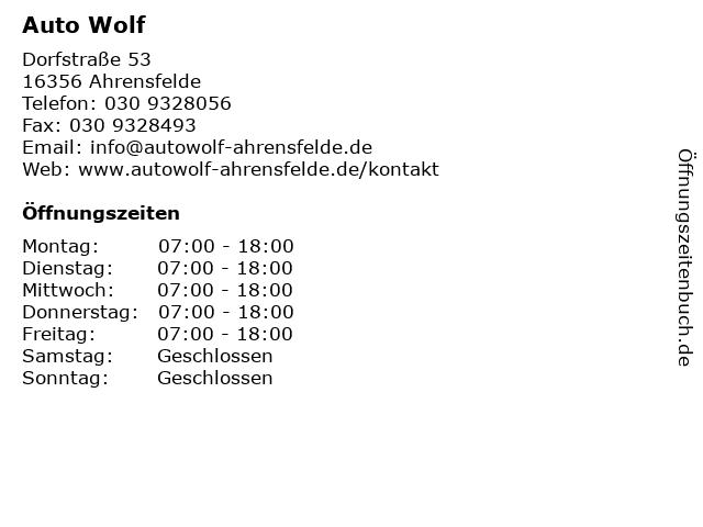 Auto Wolf in Ahrensfelde: Adresse und Öffnungszeiten