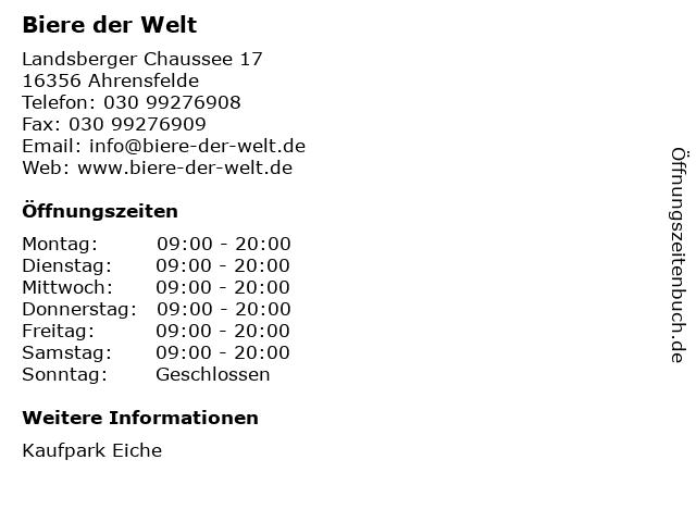 Biere der Welt in Ahrensfelde: Adresse und Öffnungszeiten