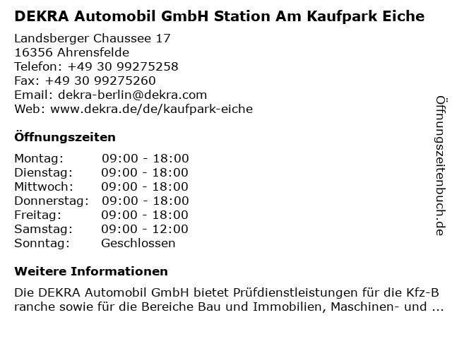 DEKRA Automobil GmbH Station Am Kaufpark Eiche in Eiche: Adresse und Öffnungszeiten