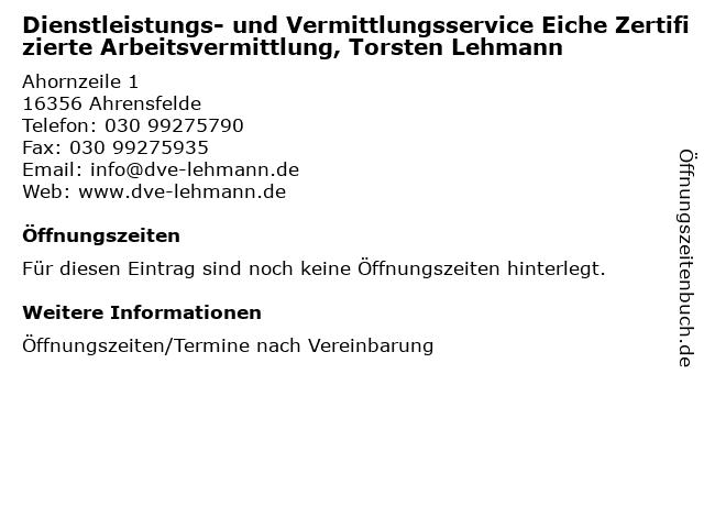 Dienstleistungs- und Vermittlungsservice Eiche Zertifizierte Arbeitsvermittlung, Torsten Lehmann in Ahrensfelde: Adresse und Öffnungszeiten
