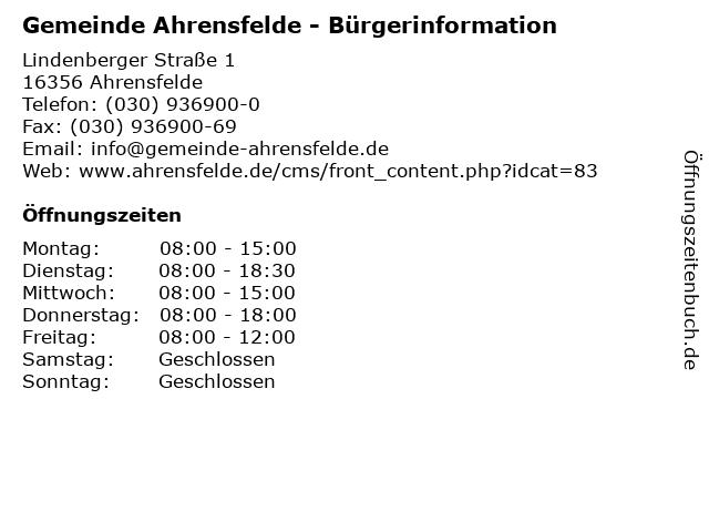Gemeinde Ahrensfelde - Bürgerinformation in Ahrensfelde: Adresse und Öffnungszeiten