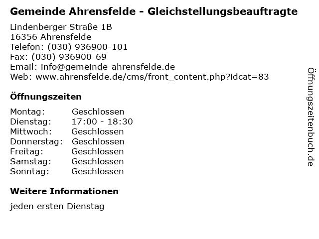 Gemeinde Ahrensfelde - Gleichstellungsbeauftragte in Ahrensfelde: Adresse und Öffnungszeiten