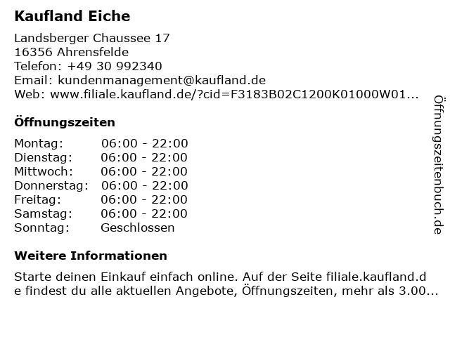 Kaufland Eiche, Kaufpark in Ahrensfelde: Adresse und Öffnungszeiten