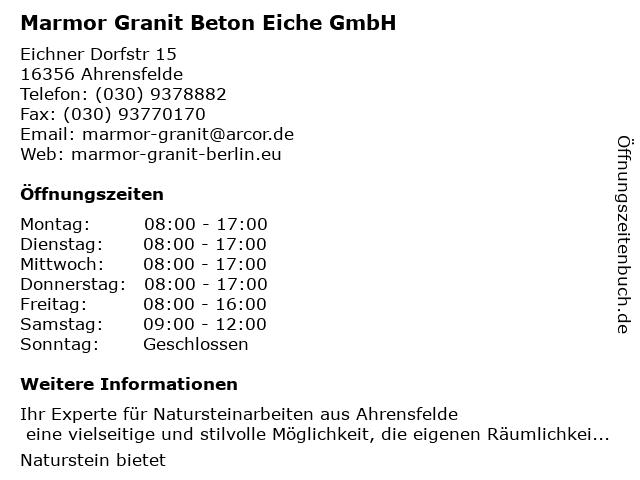Marmor Granit Beton Eiche GmbH in Ahrensfelde: Adresse und Öffnungszeiten