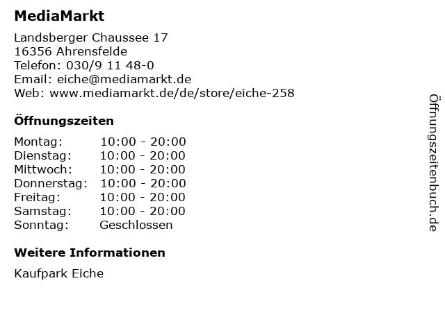 Media Markt TV-Hifi-Elektro GmbH in Ahrensfelde: Adresse und Öffnungszeiten