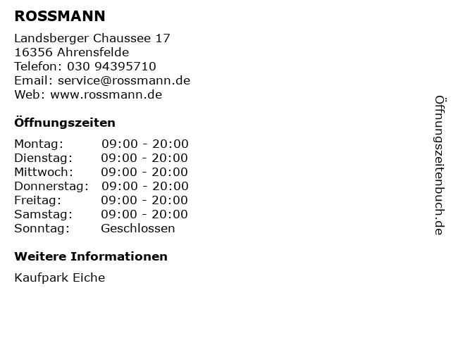 ROSSMANN in Ahrensfelde: Adresse und Öffnungszeiten