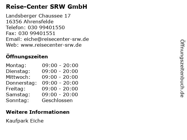 Reise-Center SRW GmbH in Ahrensfelde: Adresse und Öffnungszeiten