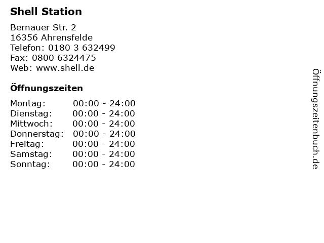 Shell Station in Ahrensfelde: Adresse und Öffnungszeiten