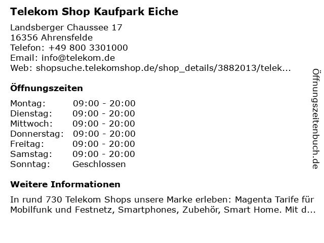 Telekom Shop Kaufpark Eiche in Ahrensfelde: Adresse und Öffnungszeiten