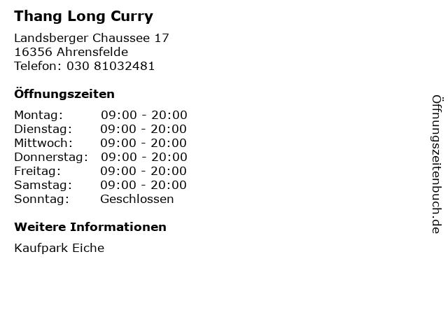 Thang Long Curry in Ahrensfelde: Adresse und Öffnungszeiten