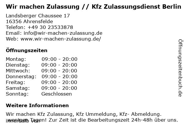 Wir machen Zulassung // Kfz Zulassungsdienst Berlin in Ahrensfelde: Adresse und Öffnungszeiten