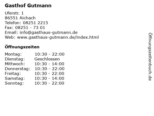 Gasthof Gutmann in Aichach: Adresse und Öffnungszeiten