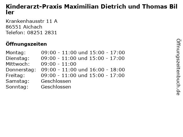 Kinderarzt-Praxis Maximilian Dietrich und Thomas Biller in Aichach: Adresse und Öffnungszeiten