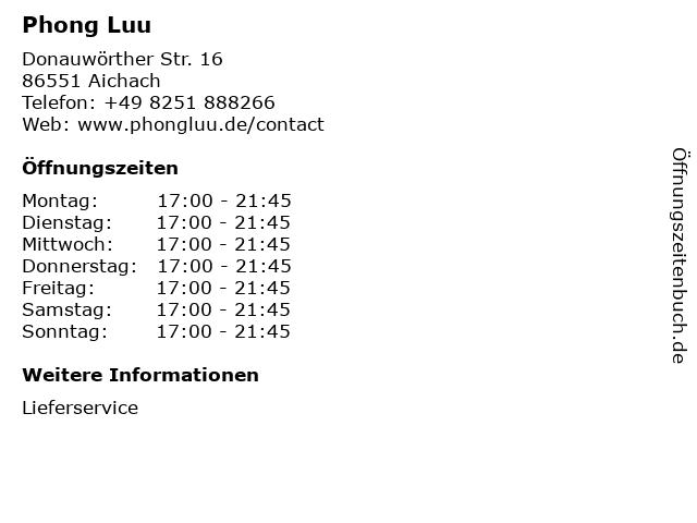Phong Luu in Aichach: Adresse und Öffnungszeiten