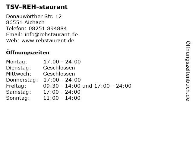 TSV-REH-staurant in Aichach: Adresse und Öffnungszeiten