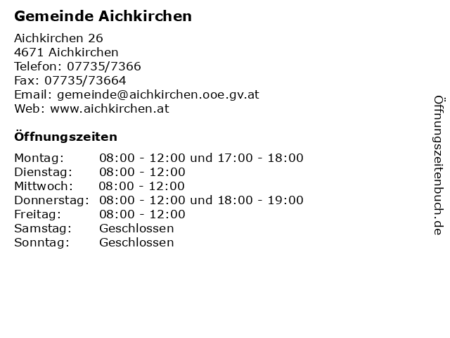 Gemeinde Aichkirchen in Aichkirchen: Adresse und Öffnungszeiten