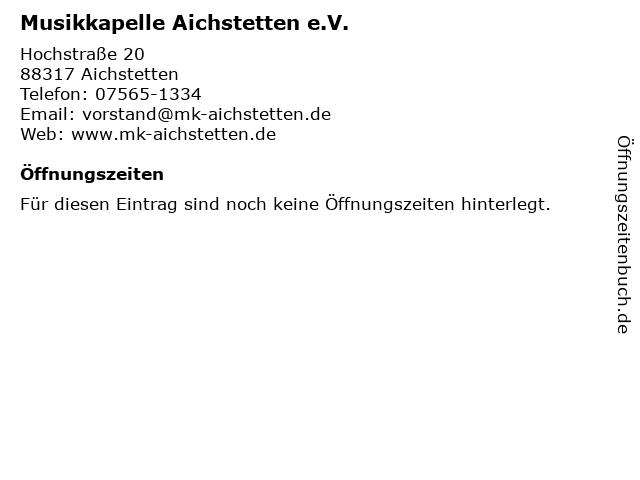 Musikkapelle Aichstetten e.V. in Aichstetten: Adresse und Öffnungszeiten