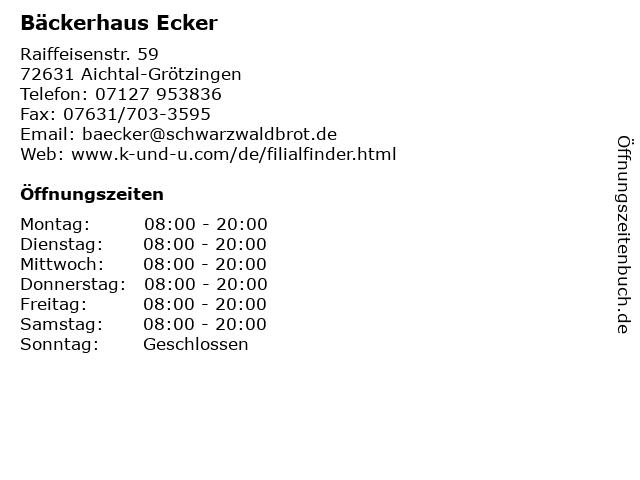 Bäckerhaus Ecker in Aichtal-Grötzingen: Adresse und Öffnungszeiten