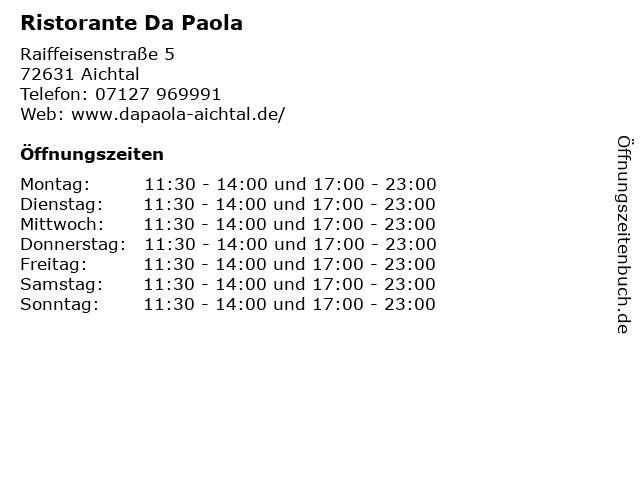 Ristorante Da Paola in Aichtal: Adresse und Öffnungszeiten