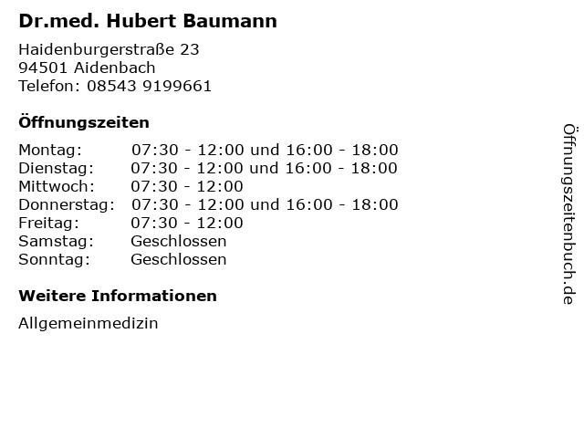 Dr.med. Hubert Baumann in Aidenbach: Adresse und Öffnungszeiten