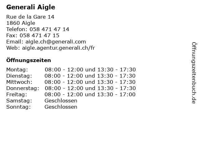 Generali Aigle in Aigle: Adresse und Öffnungszeiten