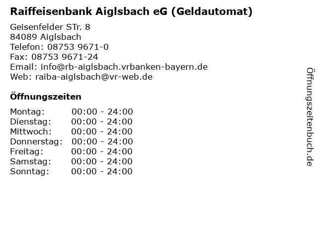 Raiffeisenbank Aiglsbach eG (Geldautomat) in Aiglsbach: Adresse und Öffnungszeiten