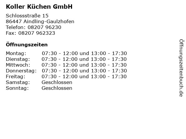 ᐅ Offnungszeiten Koller Kuchen Gmbh Schlossstrasse 15 In