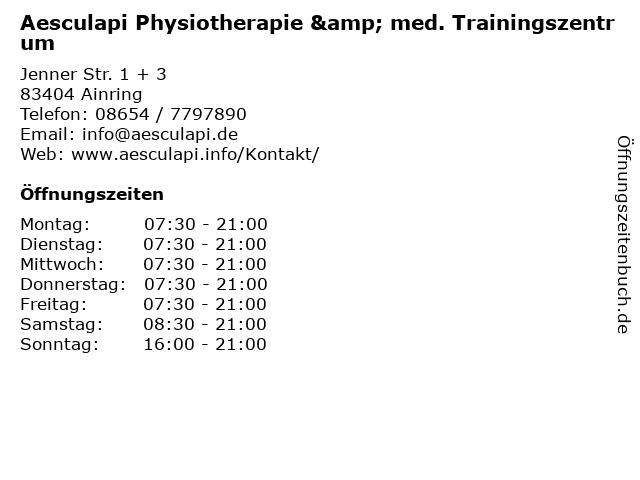 Aesculapi Physiotherapie & med. Trainingszentrum in Ainring: Adresse und Öffnungszeiten