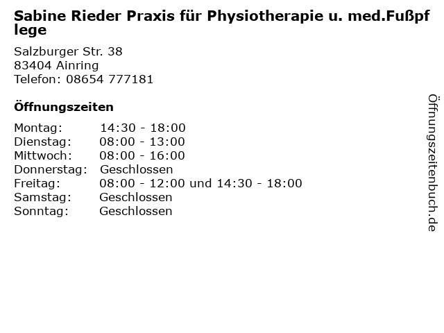 Sabine Rieder Praxis für Physiotherapie u. med.Fußpflege in Ainring: Adresse und Öffnungszeiten