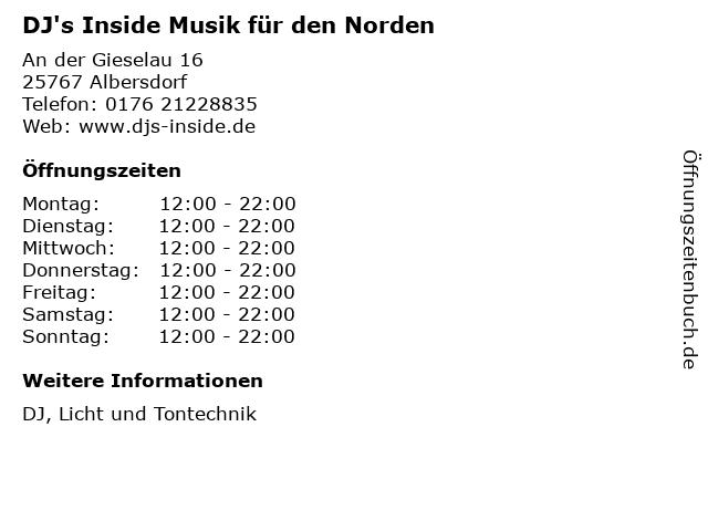 DJ's Inside Musik für den Norden in Albersdorf: Adresse und Öffnungszeiten