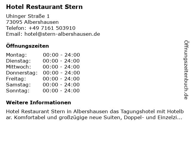 Hotel Restaurant Stern Albershausen in Albershausen: Adresse und Öffnungszeiten