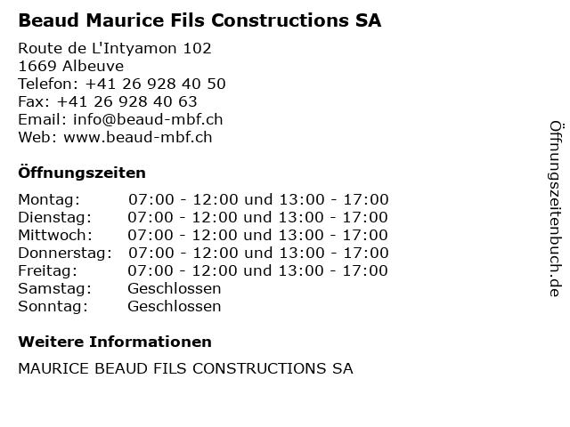 Beaud Maurice Fils Constructions SA in Albeuve: Adresse und Öffnungszeiten