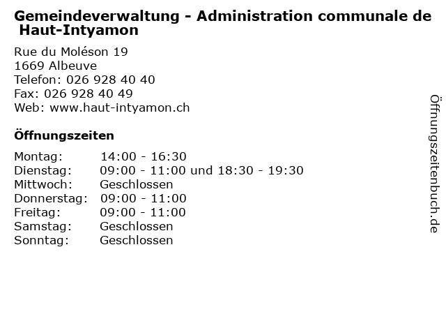 Gemeindeverwaltung - Administration communale de Haut-Intyamon in Albeuve: Adresse und Öffnungszeiten