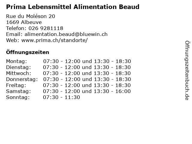 Prima Lebensmittel Alimentation Beaud in Albeuve: Adresse und Öffnungszeiten