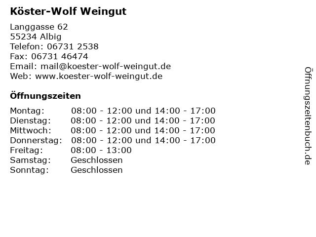 Köster-Wolf Weingut in Albig: Adresse und Öffnungszeiten